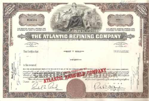 apolice - the atlantic refining company nº w04584 ano 1966