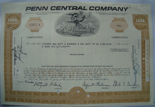 apolice - the penn central corporation, ano 1969 - 12803a