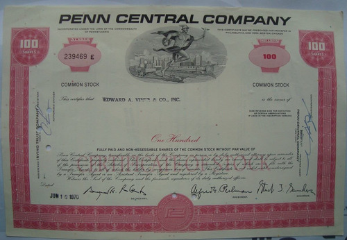 apolice - the penn central corporation, ano 1970 - 239469e