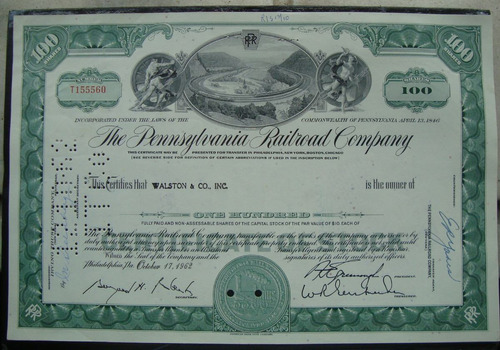 apolice - the pennsylvania railroad company - ano 1962