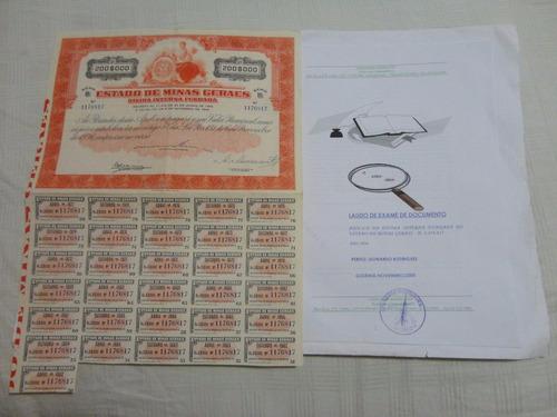 apólice título da dívida interna fundada mg 1934 com laudo