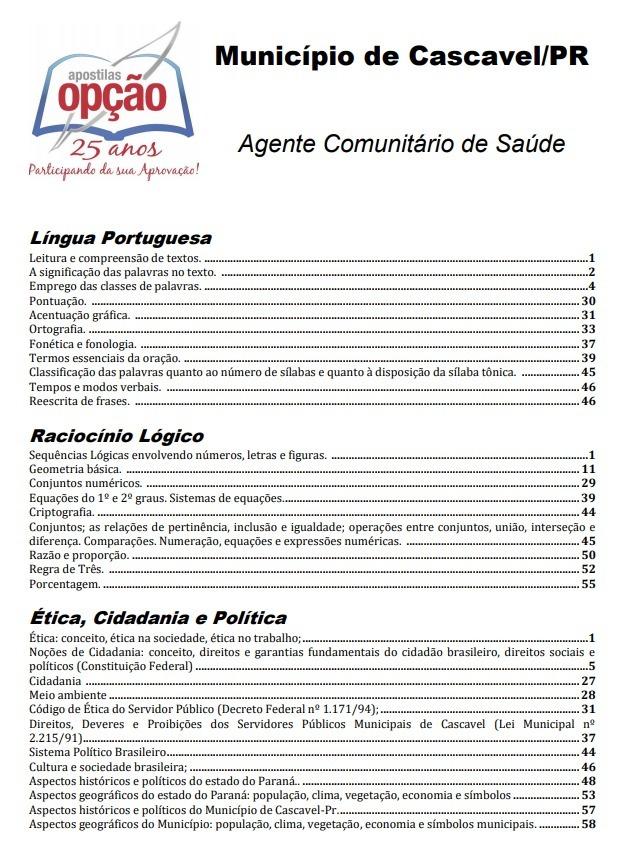 Apostila Agente Comunitário De Saúde Concurso Cascavel 2018 R 49