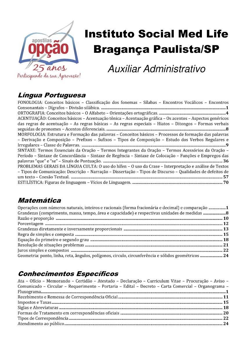Apostila Braganca Paulista Med Life Auxiliar Administrativo R 23