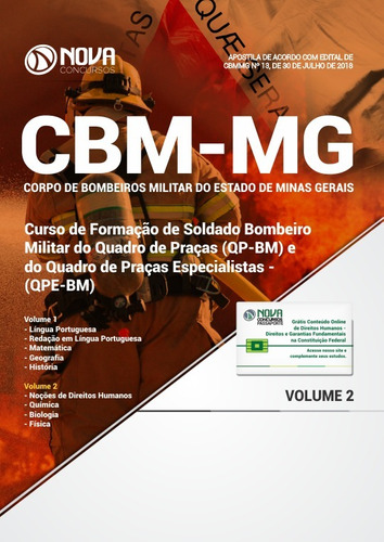 apostila cbm-mg 2018 soldado bombeiro militar frete grátis