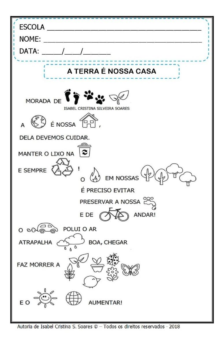 Apostila Com Atividades Sobre A Terra E Meio Ambiente R 10 00
