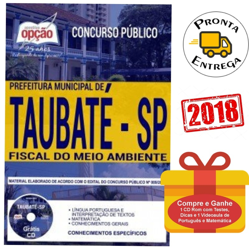 apostila fiscal do meio ambiente prefeitura taubaté sp 2018 r$ 42628 Curso Opcao #15