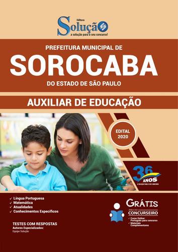 apostila prefeitura sorocaba sp 2020 - auxiliar de educação