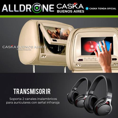 apoya cabezas 7 hd pantalla caska dvd juegos usb sd par x2