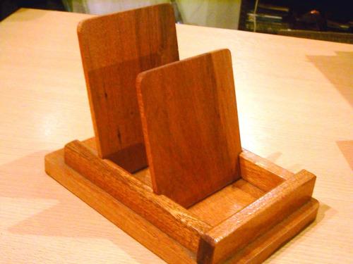 apoya platos sosten madera para dos piezas