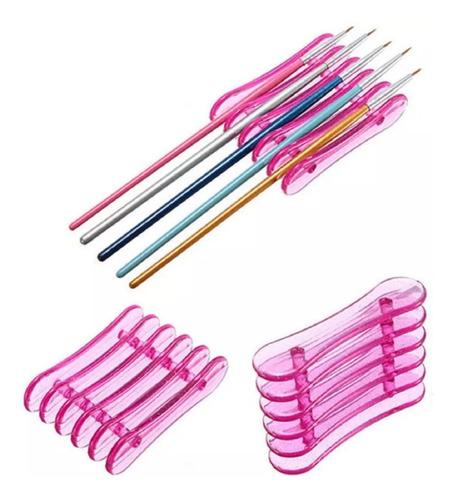 apoya porta pinceles plastico varios colores uñas