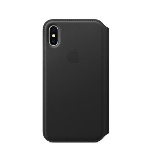 apple carcasa folio black de cuero para iphone x original