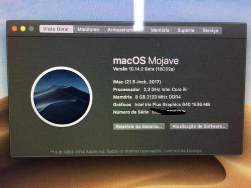 apple imac 21.5  core i5 2.3 8gb memória (modelo 2017)