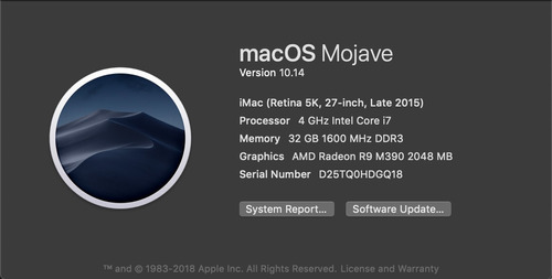 apple imac 27 pulgadas  i7 4.0 ghz 32gb 1tb fusion retina 5k