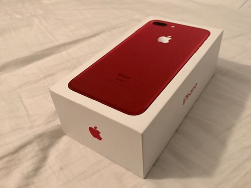 apple iphone red(product) 7plus 128gigas caja airpods stiker
