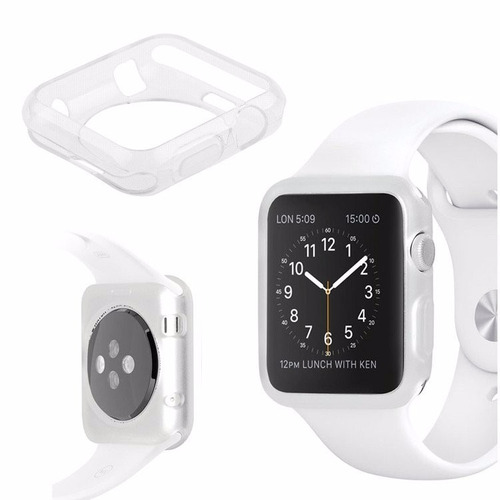 apple iwatch combo cristal templado y case transparente