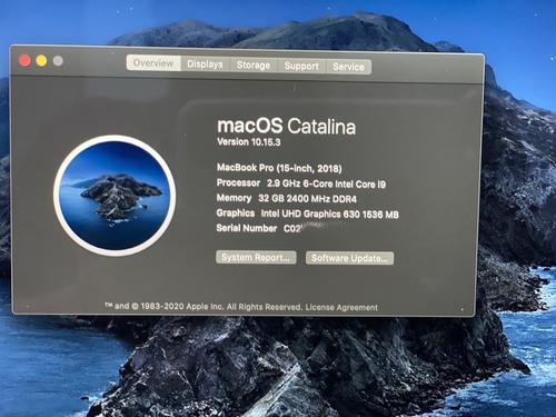 apple macbook pro retina laptop i9 6 cores 32gb ram 1tb ssd