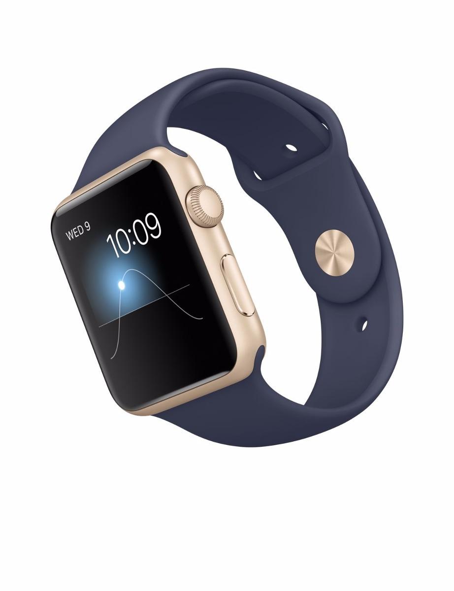 d2149b04116 Apple Watch 42m Novo Dourado E Pulseira Azul Meia Noite Orig - R ...
