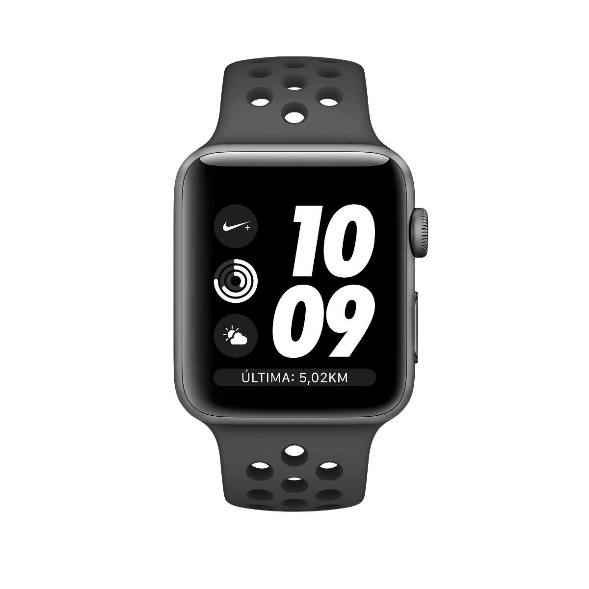 57627844aae apple watch s3 nike 42mm gps cinza espacial pulseira preta. Carregando zoom.