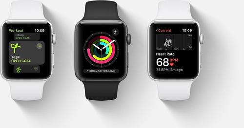 apple watch series 3 42mm space gray alum sport band black !