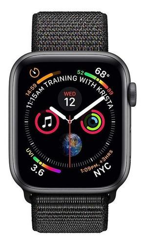 apple watch series 4 gps - 44mm - caixa cinza-espacial de alumínio com pulseira esportiva preta