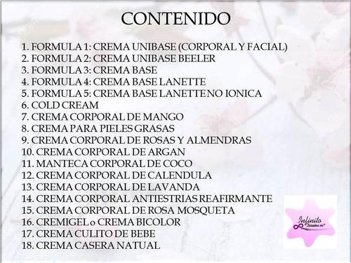aprend cosmética artesanal cremas corporales 2 formula+obseq