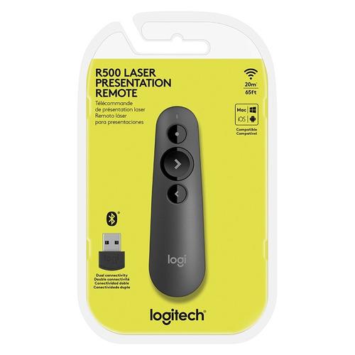 apresentador logitech wireless presenter r500 c/ laser point