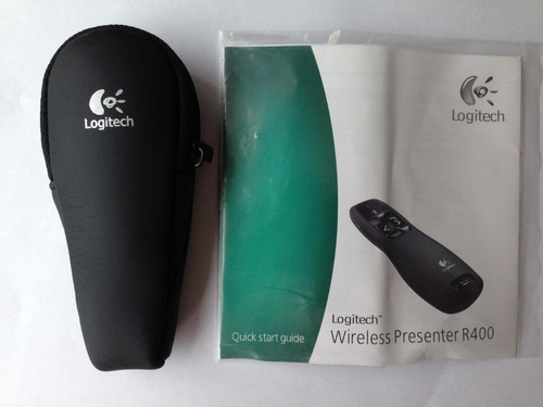 apresentador logitech wireless  r400+estojo+manual