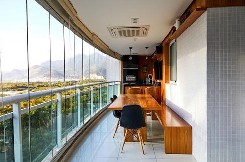 apto 3 quartos mobiliado na barra da tijuca | península