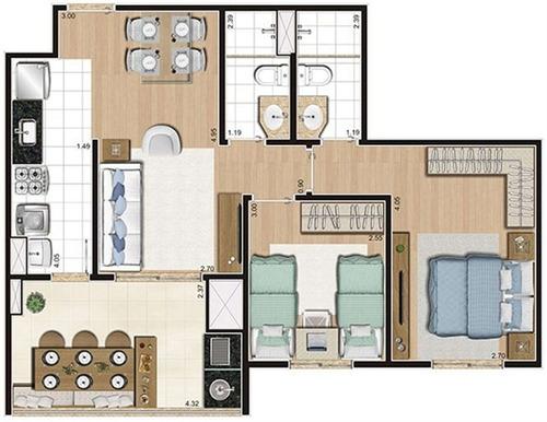 apto 63 m² 2 dorms( suíte) varanda c/ churrasqueira e 1 vaga