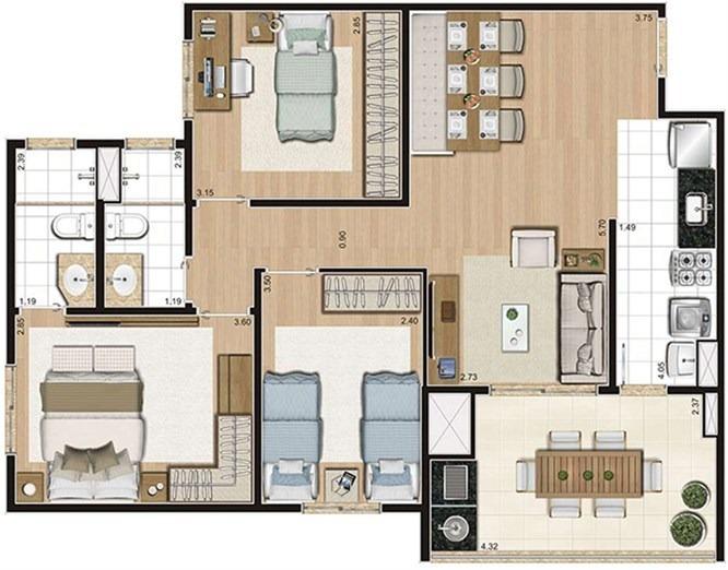 apto 79 m² 3 dorms(suíte) ter. c/ churasqueira e 2 vagas