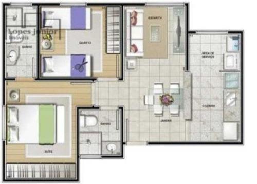 apto a venda 2 dormitórios, vila gabriel sorocaba s/p