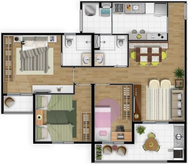 apto de 80m2, 3 dorms , 2 vagas , suite , varanda , sbc