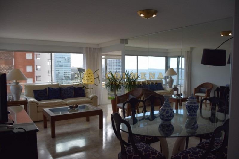 apto en mansa de 2 dormitorios, 2 baños, 1 en suite, living comedor, cocina, dormitorio y baño de servicio,lavadero balcón cerrado con vista al mar.-ref:1896