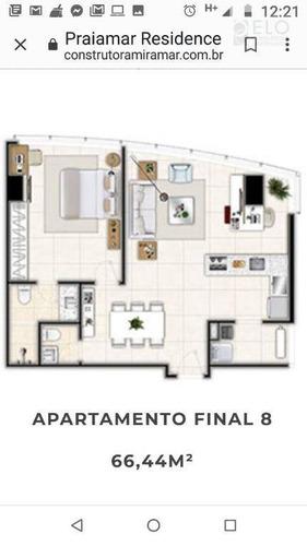 apto. nível executivo 1 suíte para alugar, 66,44m² - santos/sp - ap1919