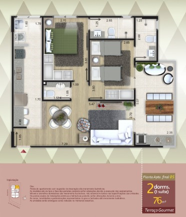 apto novo 02 dormitórios frente mar balneário florida (1161)