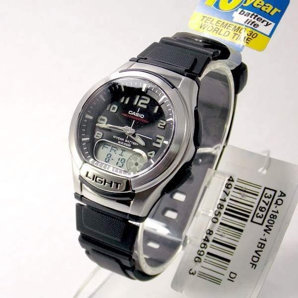 83cf237fe83 Aq-180w-1b Relógio Casio Ana-digi Masculino Luz Wr100 Agenda - R ...
