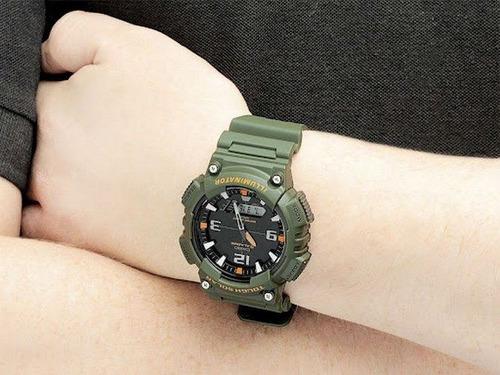 aq-s810w  relógio casio bateria solar analógico digital 100m