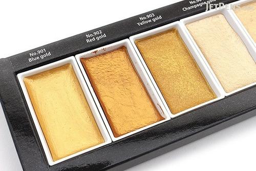 aquarela kuretake dourada perolada metálica 6 cores