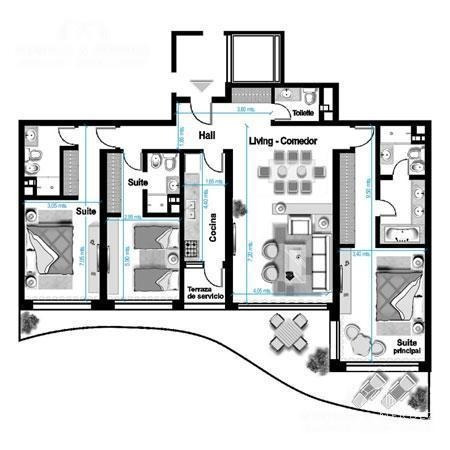 aquarela, primera fila! 3 suites,principal con baño doble,  toilette