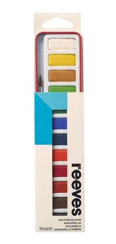 aquarela reeves pastilha 12 cores watercolour 8493254