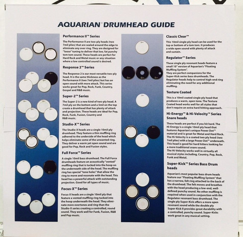 aquarian studio-x 10 coated parche p/bateria   envio gratis!