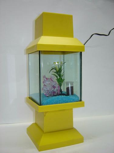 aquário beteira japoneza abajour decorada - amarelo