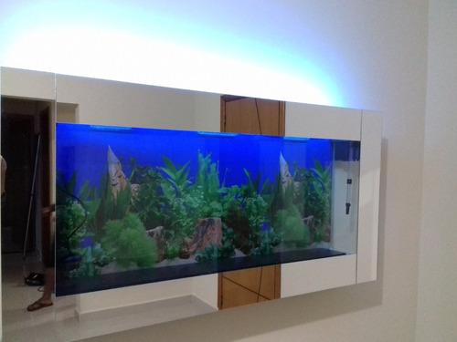 aquário de parede 140x15x65 completo acabamento em espelho