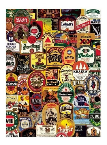 aquarius rompecabezas etiquetas de cervezas famosas 1000 pzs