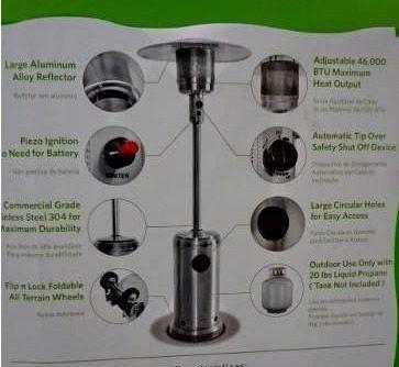aquecedor a gás, ambientes interno e externo inox