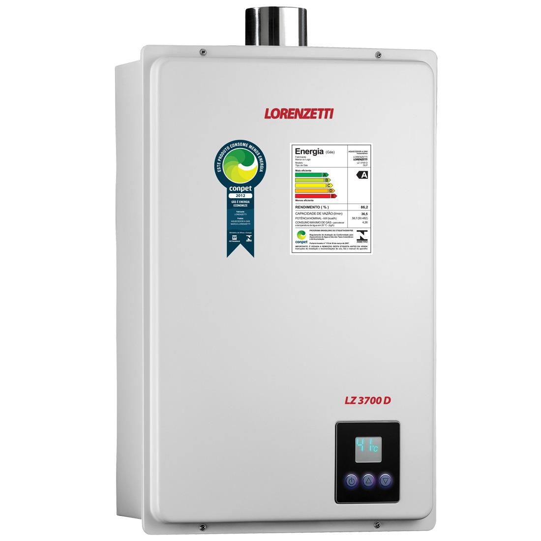 Aquecedor De Água A Gás Lz 3700d Gn 36 5 Lorenzetti R$ 3.491 90  #168F42 1100x1100 Balança Para Banheiro Ricardo Eletro