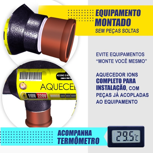 aquecedor de piscina 20.000lts manual 8kw compacto