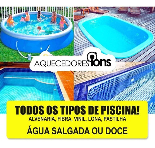 aquecedor de piscina 40.000lts manual 10kw compacto