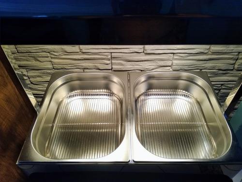 aquecedor rechaud conservador de fritura 2 lâmpadas aço inox