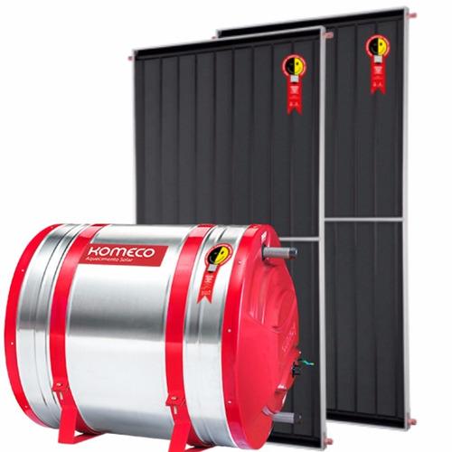 aquecedor solar conjunto 200l boiler aço 316 komeco 2 placas